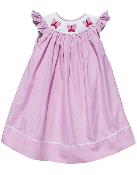 Pink Butterfly Summer Girls Bishop Dress--Carousel Wear - 1
