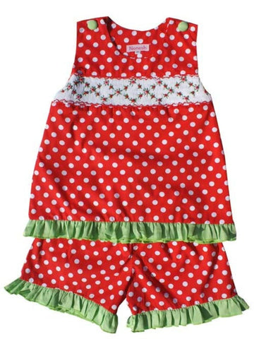 Rose and Red Polka Dots Smocked Girls Dress Set--Carousel Wear - 1