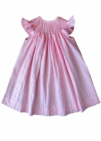Pink and white ready to smock bishop dress--Carousel Wear - 2