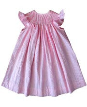 Pink and white ready to smock bishop dress--Carousel Wear - 1