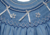 Cloud blue smocked ribbon bishop--Carousel Wear - 3