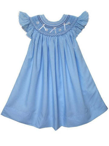 Hand Smocked Blue Ribbon Summer Bishop Dress for Girls