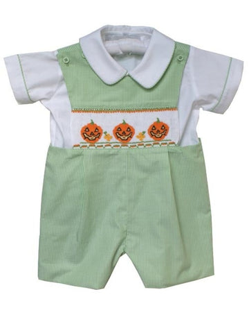 Jack-o-Lantern Boys Pumpkin Fall Shortall for Halloween--Carousel Wear - 2