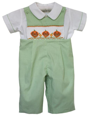 Jack-O-Lantern Pumpkin Fall and Thanksgiving Boys Smocked Longall--Carousel Wear - 1