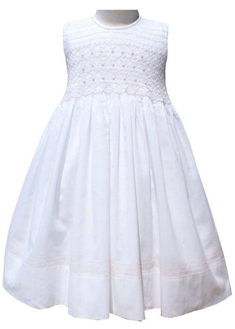Special Occasion White Flower Girls Dress with Pink Smocking--Carousel Wear - 2