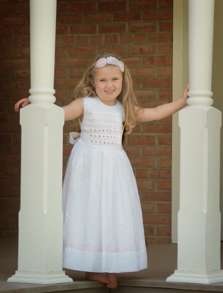 Special Occasion White Flower Girls Dress with Pink Smocking--Carousel Wear - 1