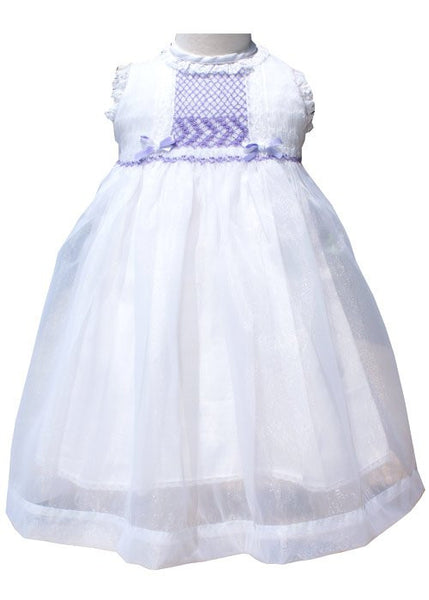 Vintage Girls White Organza Lace Dress with Lavender Smocking--Carousel Wear - 1