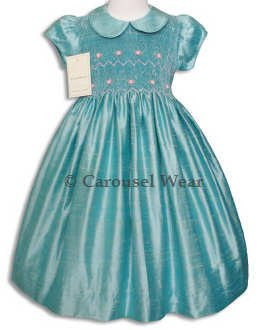 Girls Aqua Blue Silk Smocked Special Occasion Dress size 8--Carousel Wear - 2