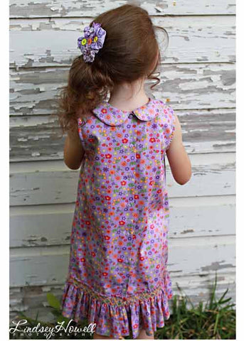 Lavender Floral Sleeveless Girls Jumper Dress--Carousel Wear - 2