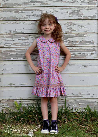 Lavender Floral Sleeveless Girls Jumper Dress--Carousel Wear - 1