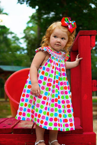 Rainbow Polka Dots Bishop--Carousel Wear - 1