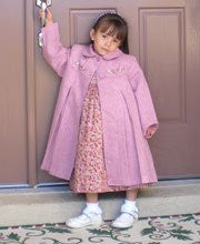 Silk Embroidered Rose Girls Fall Winter Coat--Carousel Wear - 1