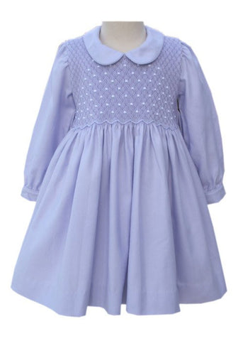 Easter Lavender Long Sleeve Smocked Dress for Girls--Carousel Wear - 1