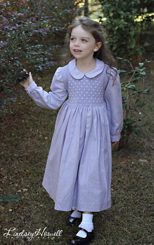 Easter Lavender Long Sleeve Smocked Dress for Girls--Carousel Wear - 2
