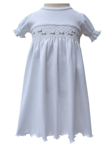 Beautiful white knit dress with roses 6/9m--Carousel Wear - 1