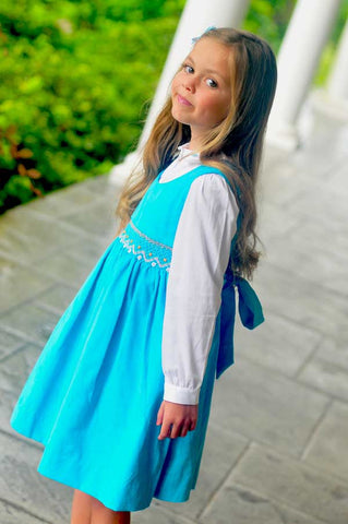 Girls Smocked Fall Winter Dress in Turquoise Corduroy and Long Sleeves--Carousel Wear - 2