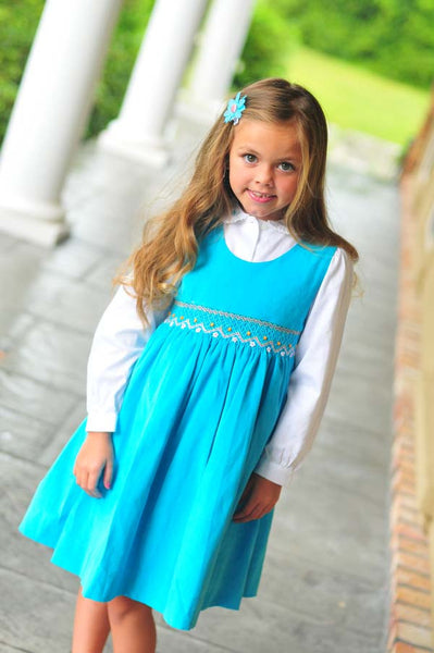 Girls Smocked Fall Winter Dress in Turquoise Corduroy and Long Sleeves--Carousel Wear - 1