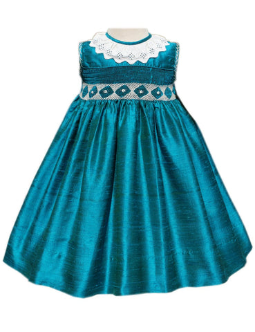Girls Silk Turquoise Dress--Carousel Wear - 1