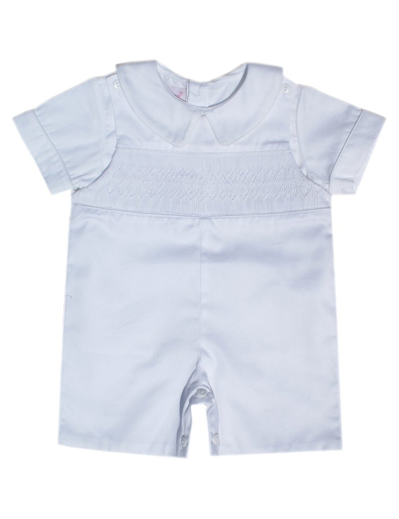 Boys Pristine White Christening Shortall Outfit--Carousel Wear - 1