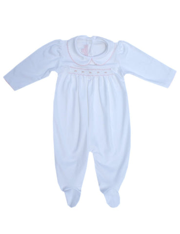 Baby girls pink bodysuit with footsies--Carousel Wear - 1