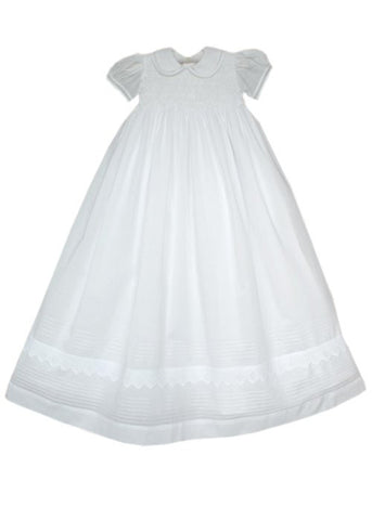 Little Angels Infant Girls Christening Baptism Gown and Smocked Bonnet--Carousel Wear - 2