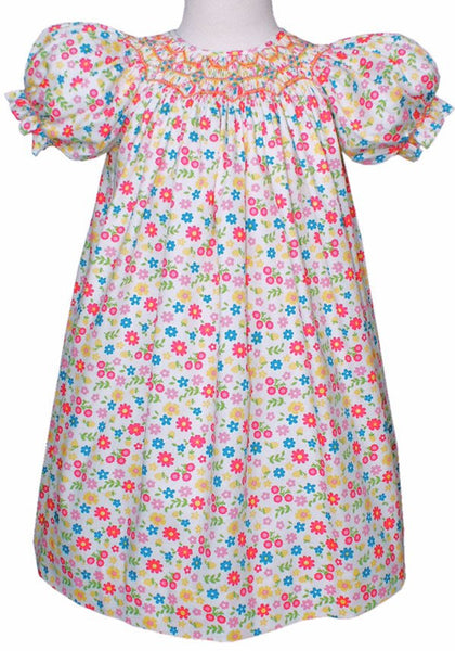 Floral smocked girls dress--Carousel Wear - 1