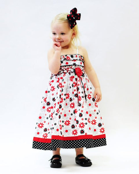 Girls Terry Tube Dress With Hand Smocking Red Black And White Floral C