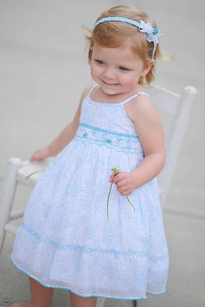 Girls Turquoise Spaghetti Straps Summer Floral Dress with Coordinated Headband--Carousel Wear - 1