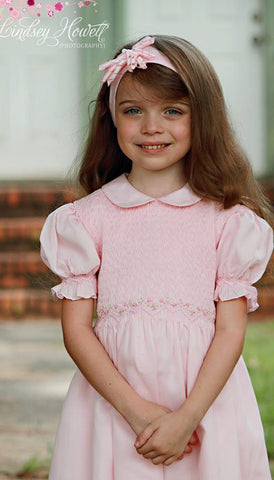 Girls Pink Princess Smocked Dress--Carousel Wear - 4