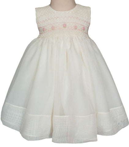 Ivory Organza Bethany Baby Girls Dress With Pink Roses 6m--Carousel Wear