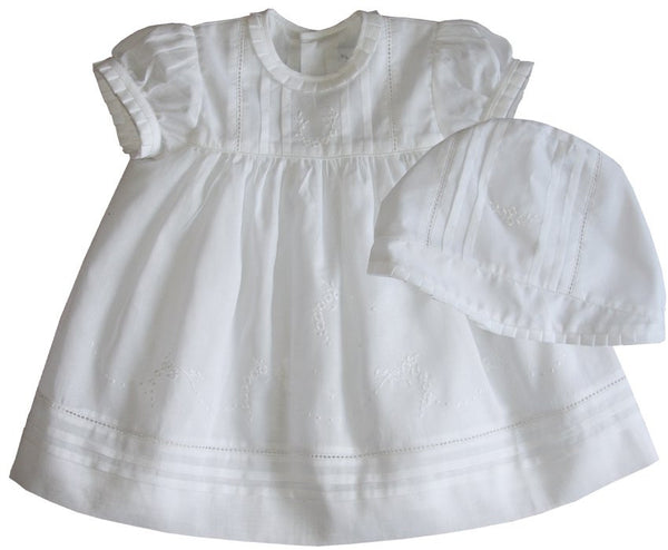 Lily White Christening Dress With Bonnet--Carousel Wear - 1