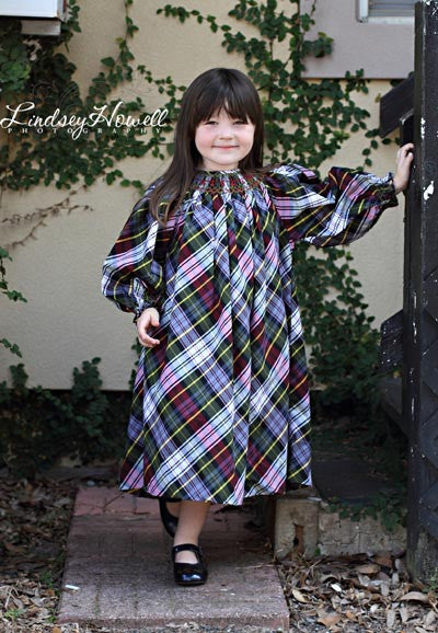 Girls Plaid Christmas Long Sleeved Smocked Dress--Carousel Wear - 1