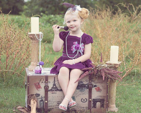 Felicity Purple Corduroy Party Dress--Carousel Wear - 1