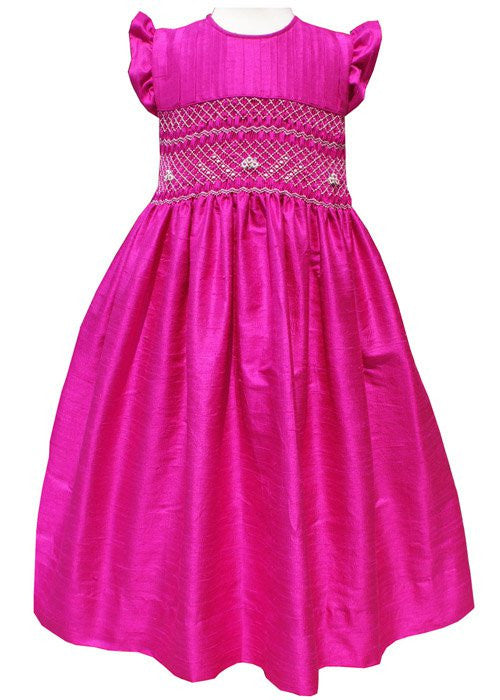 Flower Girl Silk Dress Hot Pink--Carousel Wear - 1