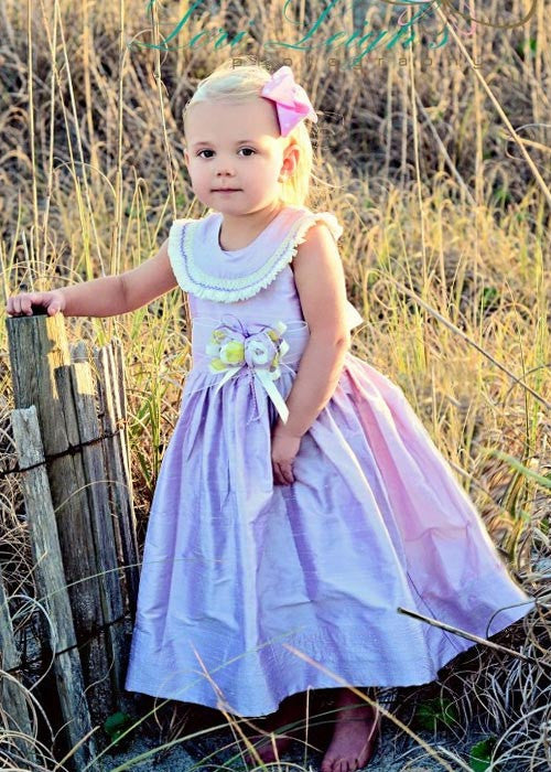 Girls Kali Lavender Silk Dress--Carousel Wear - 1