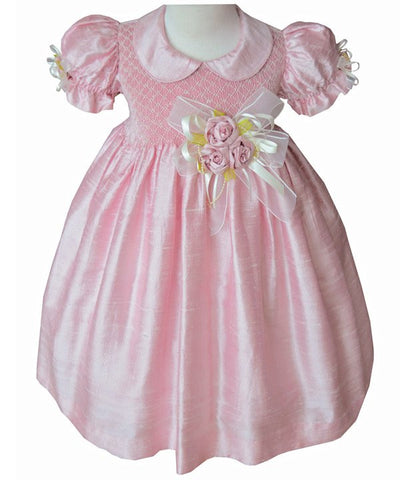 Light Pink Flower Girls Silk Dress--Carousel Wear - 2
