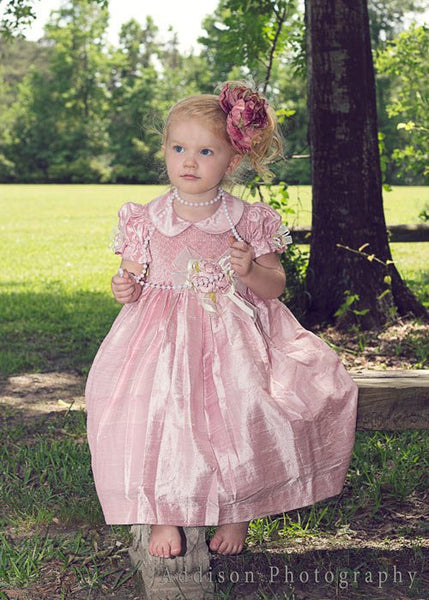 Light Pink Flower Girls Silk Dress--Carousel Wear - 1
