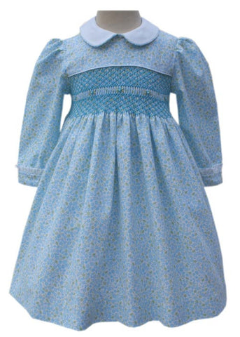 Blissful Blue Floral Heirloom Girls Dress Long Sleeves--Carousel Wear - 2
