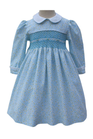 Blissful Blue Floral Heirloom Girls Dress Long Sleeves--Carousel Wear - 1