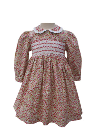 Floral Girls Long Sleeves Dress Harriet With Chevron Smocking--Carousel Wear - 1