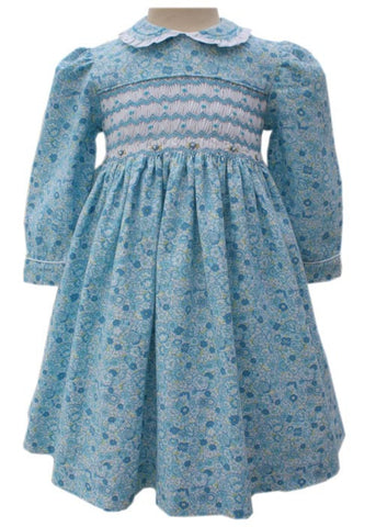 Beautiful Briana Blue Floral Girls Dress Long Sleeves 2T--Carousel Wear - 2