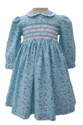 Beautiful Briana Blue Floral Girls Dress Long Sleeves 2T--Carousel Wear - 1