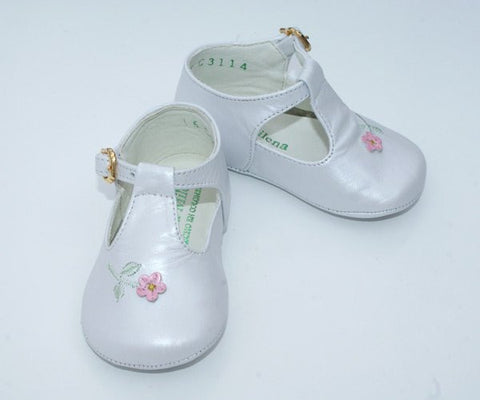 Baby girl white leather shoes--Carousel Wear - 2