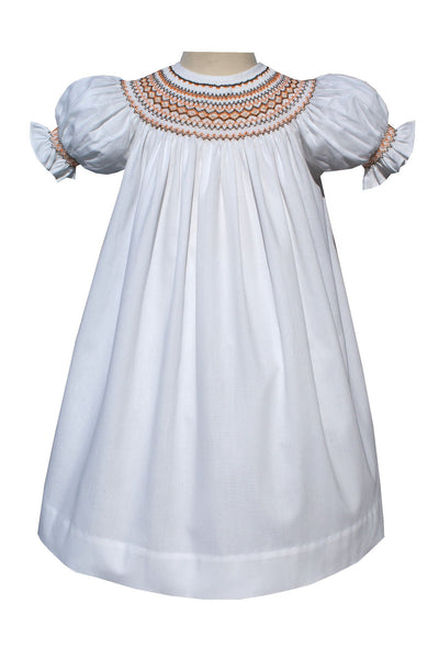 Girls White And Tangerine Hand Smocked Bishop 2T--Carousel Wear - 1