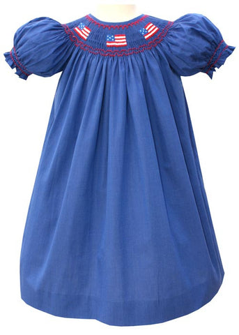 Hand Smocked Girls Patriotic US Flag Dress Janet--Carousel Wear - 2