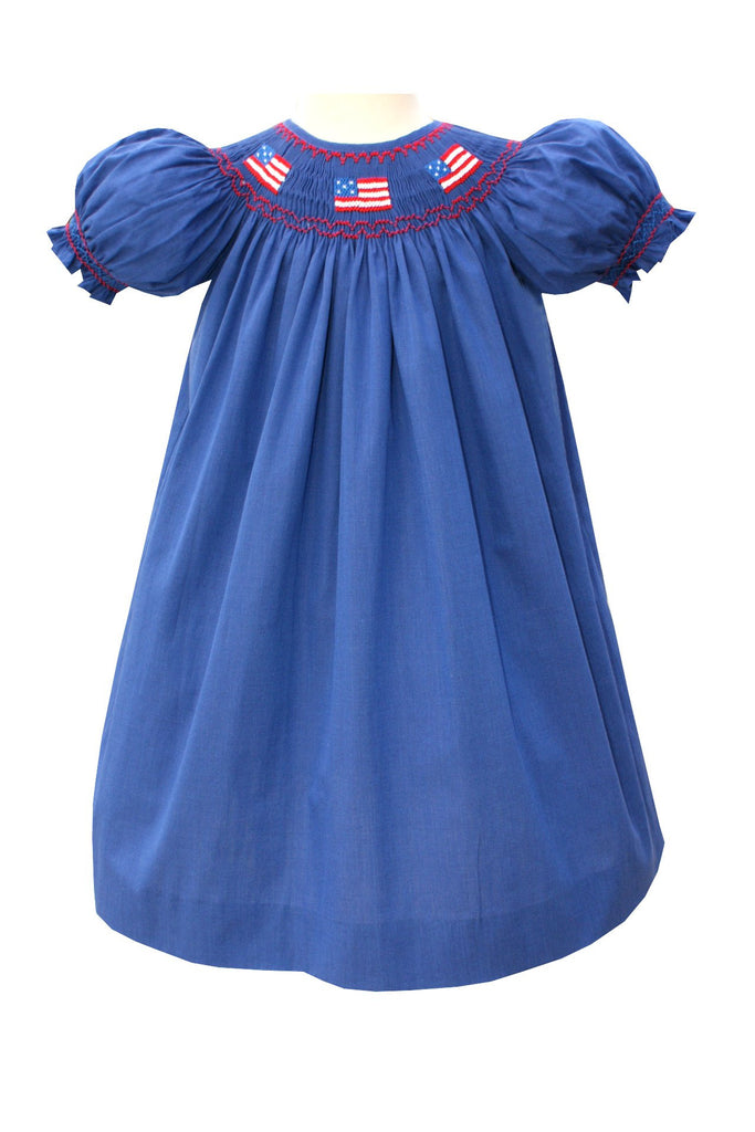 Hand Smocked Girls Patriotic US Flag Dress Janet--Carousel Wear - 1