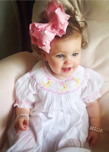 Baby Girls I Love You to The Moon and Stars White Smocked Dress--Carousel Wear - 1