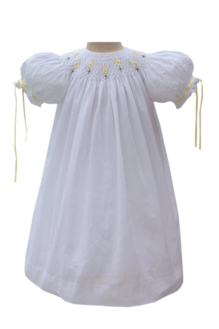 Antonieta Girls white Easter dress and yellow silk embroidery--Carousel Wear