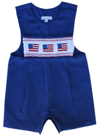 Kyle Blue boys patriotic flag shortall John John--Carousel Wear - 2