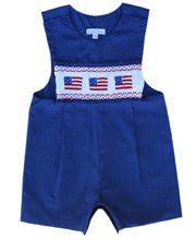 Kyle Blue boys patriotic flag shortall John John--Carousel Wear - 1